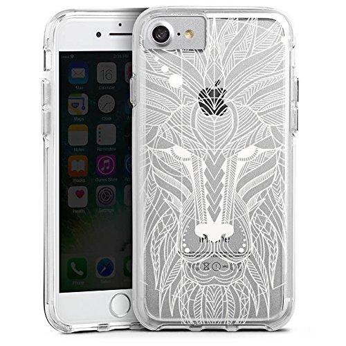 Apple iPhone X Bumper Hülle Bumper Case Glitzer Hülle Muster ohne Hintergrund Mandala Lion Bumper Case transparent