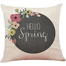 DIPOLA Decoración para el hogar Funda de cojín Hello Spring Throw Funda ...
