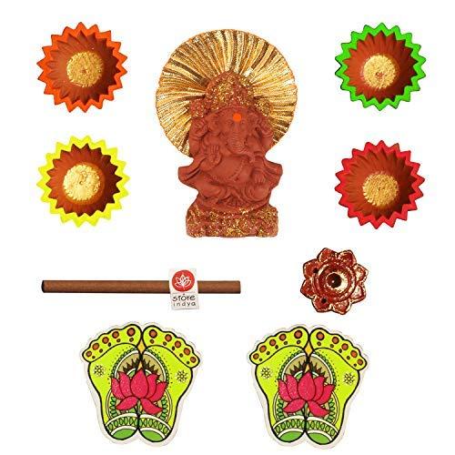 storeindya Diwali-Dekorationsgeschenk-Set mit 4 Erdstäben Diyas Dhoop Stick mit Halter Kupfer Charan Paduka/Lakshmi Füße Combo Festliches Angebot Feier Home Decor Combo 11