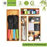 Besteckkasten Besteckeinsatz Schubladeneinsatz Besteckschublade Holzbox - Cutlery Tray für Schubladen aus Bambus