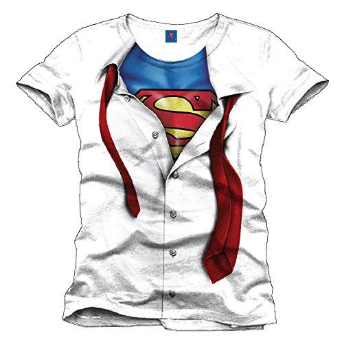 Superman Maglietta Maglia T Shirt Clark Kent white Size L CODI