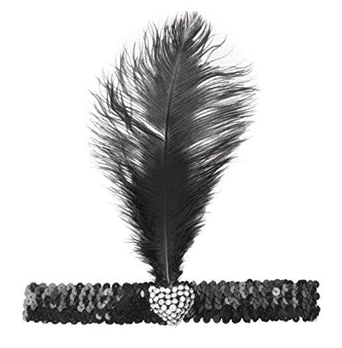 Bristol Crystal (Flapper Headband and Crystal Heart. Black Accessory Fancy Dress)