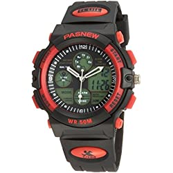PIXNOR Waterproof Unisex Boys Girls Sports Wrist Watch with Date Alarm (Red)