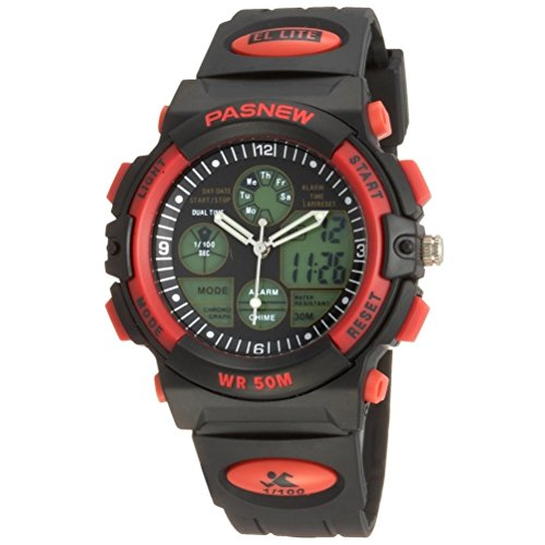 PIXNOR-Waterproof-Unisex-Boys-Girls-Sports-Wrist-Watch-with-Date-Alarm-Red
