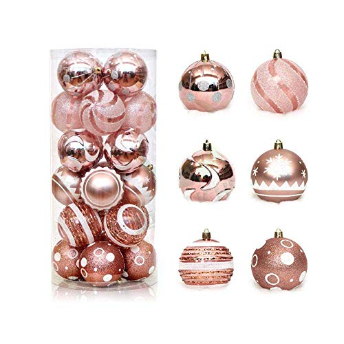 Cweep shatterproof new 24ct 60mm shatterproof christmas ornaments ball, decorative hanging christmas baubles with delicate painting glitters for xmas tree home office decorations (rose gold)