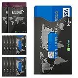 RFID Blocker Schutzhüllen TÜV zertifiziert mit Sichtfenster für Karten und Reisepass (10+2 Set) beste Sicherheit für Kreditkarten, Bank Hotel und EC-Karten Personalausweis vor Betrug