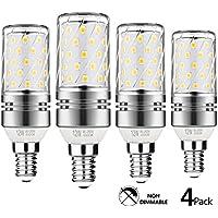 Gezee argento LED mais lampadine E1412W 4000K luce bianca 100W ad incandescenza lampadina lampadina, candelabri candela, 1200LM, non dimmerabile, attacco Edison piccolo (4confezioni)