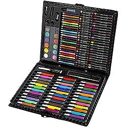 BJ-SHOP Estuche Colores,Niños Acuarela Lápiz Niños Dibujo Kit de Artista Lápices de Colores Set Crayón Pintura al óleo Brocha Herramienta de Dibujo Regalo con Caja para Papelería Escolar 150 unids