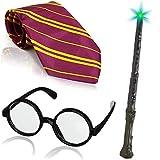 German Trendseller® - Zauberer - Kostüm - Set - Deluxe ┃ Wizard ┃ Krawatte + Magier Brille + Zauberstab ┃ 3 Teiliges Set