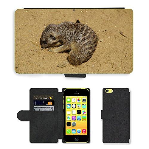Just Mobile pour Hot Style Téléphone portable étui portefeuille en cuir PU avec fente pour carte//m00139079suricate Dig Sable Sandy d'enracinement//Apple iPhone 5C