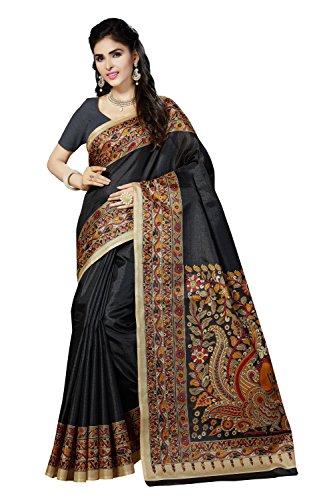 Rani Saahiba Women's Kalamkari Printed Art Bhagalpuri Silk Saree ( Skr3065_Black )