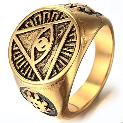 MENDINO da uomo triangolo piramide occhio con anello in acciaio inox color oro simbolo Marche Pouch, acciaio inossidabile, 19, cod. JRG0091GD-5 UK