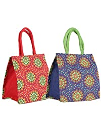 CSM Jute Bag Lunch Bag Shopping Bag - Combo Of 2 Printed Multipurpose Jute Bags