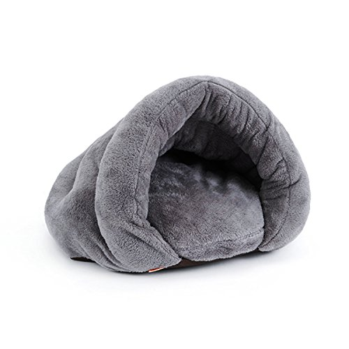 PETCUTE Soft Warm Dog house Pet Bed Sleeping Bag Cat Nest Mat Pad Cushion Pets Cave Kennel Chistmas Gift Gray