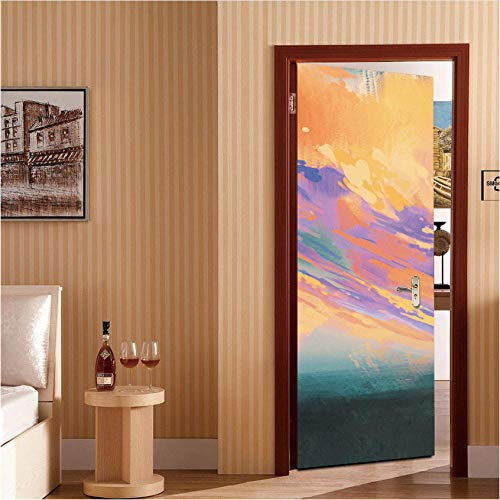 Fqcjd adesivo per porte adesivo per porte adesivi universali 3d carta da parati adesivo murale impermeabile fai da te per soggiorno camera da letto 77x200cm