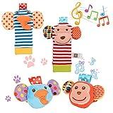 Acefun 4PCS Cute Animal Infant Baby Plüschtiere Tierbaby Handgelenk Rasseln und Fuß Finder Set Entwicklungs-Spielzeug (Affe und Elefant)