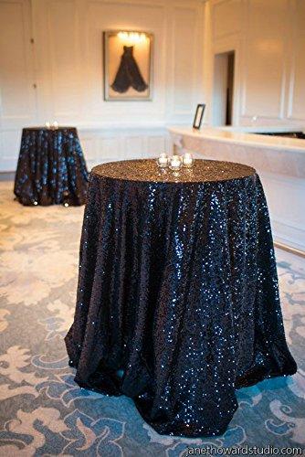 Shinybeauty 225 cm rund Pailletten Tischdecke machen Hochzeit Schönes Pailletten Tisch Tuch/Overlay/Cover, schwarz, 90inch Round (Schwarzer Tücher In 90 Tisch Runder)