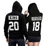 King Queen + Wunschnummer Set 2 Hoodies Pullover Pulli Liebe Love Pärchen Schwarz/Weiss Invertiert (King Gr. M + Queen Gr. S)