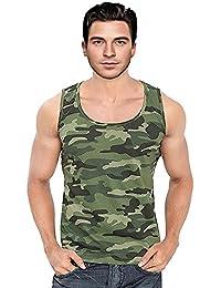 Krystle Boy's Cotton Sleeveless Army Print Sports Vest