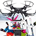 Cewaal FPV Drone with Live Video Camera,X5SW-1 2.4G RC Quadcopter Kits, Phone APP Remote Control Drone Helicopter RC Airplane Toy(Blcak)