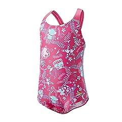 Idea Regalo - Speedo Seasquad Alov 1Pc If, Costume Bambina, Rosa/Rosa Splash/Blu, 4
