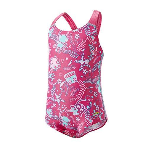 Speedo Seasquad Allover de 1 pieza, Pantaloncini da Bagno Bambina, Vegas Rosa Splash/Bali Blu, 6-9 Mesi