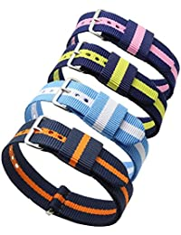4pc 20mm Nato Ss Nylon Striped Blue /Yellow Blue/Orange Blue/Pink Blue/white Replacement Watch Strap Band