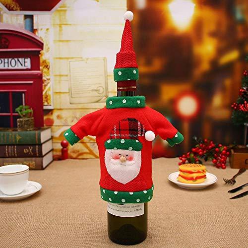 (SPFAZJ Weihnachts-Tisch Dekoration Weihnachten Dekorationen Weihnachten Family Hotel Restaurant Party Dekorationen Weihnachten Sticken Ery Cartoon Wein Flasche gesetzt)