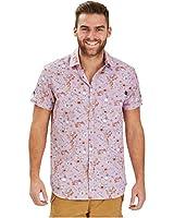 Joe Browns Pink Short Sleeve Men's Print Shirt