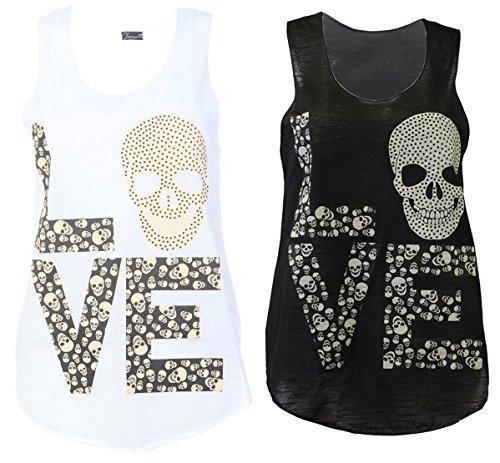 Red Olives® Womens Ladies Slogan Graphic Mickey Dope Summer Vest Top Love Skull Sleeveless Tee T-Shirt Tank Tops UK 8-14