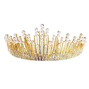 SimpleLife Tiara Headpieces-Vintage Prinzessin Hochzeit Krone Tiara Braut Prom Party Perle Strass Haarband