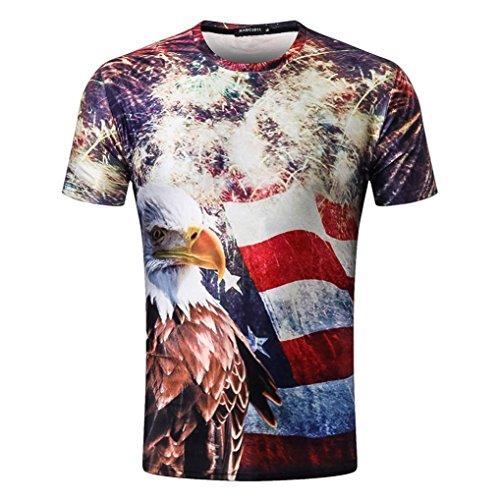 Herren Tops American Flag Eagle Print 3D Digital gedruckt T-shirt Shirts GreatestPAK,Mehrfarbig,XXL (American Eagle Flag)