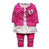 Sunenjoy 3 PCs Infantile Bébé Fille Long Manchon T-shirt + Enfants Pantalons + Dot Externe Princesse Vêtements Tenues Ensemble (0-6 mois, rose chaud)