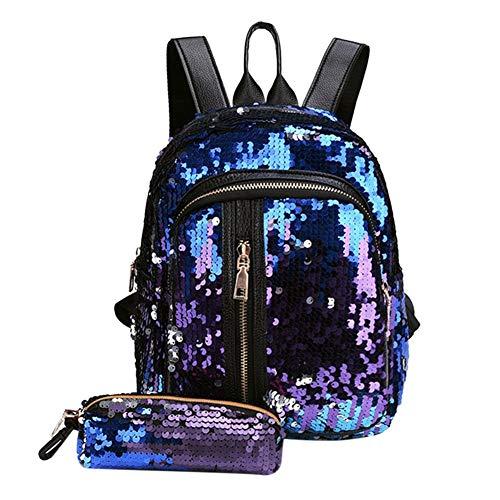 Lelestar 2pcs/Set Zaino con Paillettes Glitterati + Astuccio Portapenne Borsa da Scuola per Bambini Ragazze (Blu+viola)