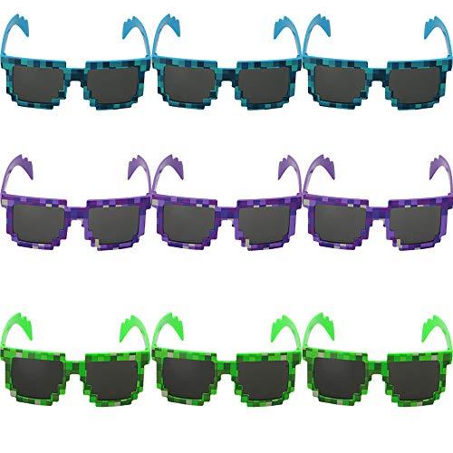 Deer Platz Mosaik Sonnenbrillen, Neue Mode Mosaik Plaid Sonnenbrillen, Brille Wie Ein Mosaik. Geeignet Für Kinder Und Erwachsene Zum Ausgehen (Blau, Grün, Lila)