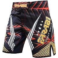 FARABI MMA Boxeo Kickboxing Muay Thai Mix Jaula de Artes Marciales, Lucha contra el Agarre, Entrenamiento de Gimnasio, Ropa, Pantalones Cortos de Ropa (Amarillo y Negro, Grande)
