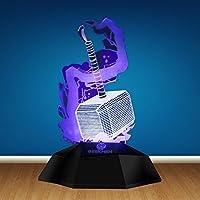 ZSSM Thor hammer 3D night light USB Rechargeable Touch base Dimming Safe energy-saving Avengers Alliance 3D Movie modern Decor LED Illusion Lamp