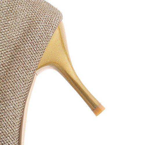 VogueZone009 Donna Plastica Tacco A Spillo Punta Chiusa Scarpe A Punta Puro Fibbia Ballerine Oro