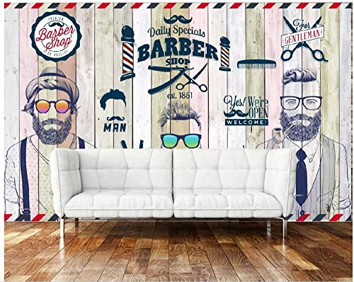HDOUBR photo mural 3d wallpaper Retro nostalgic trend barber shop tv background home decor living room wallpaper for walls 3 d - 400x280 cm (157.5 by 110.2 in)