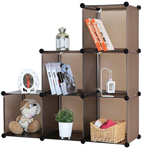 Kronenburg Stufenregal Regal Regalsystem Schrank Kleiderschrank Garderobe Bücherregal Kommode - 112 x 112 x 37 cm - Braun