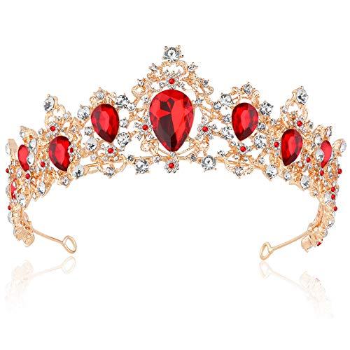 Kostüm Prinzessin Braut Rot - Coucoland Braut Tiara Hochzeit Krone Luxus Prinzessin Diadem Kristall Geburtstag Krone Damen Kostüm Accessoires (Stil 4 - Gold Rot)