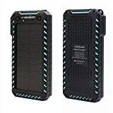 Solar Powerbank, X-DRAGON 15000mAh Solar Ladegerät Handy Duale USB Ports Externe Akku Backup...
