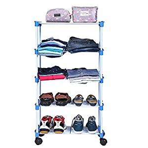 Blyssware Shoe/Clothes/Books Rack 5 Shelves Multipurpose With Wheels (Cp-1600-Smrtrk-5Sf-A)
