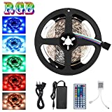 Adoric Led Licht SMD 5050 5m 150 leds, 12V DC Flexible Lichtleisten, LED-Band, RGB LED-Leiste Kit mit 44key Fernbedienung und Netzteil für Küche Schlafzimmer Wohnzimmer DIY Küche Bar Party Dekoration