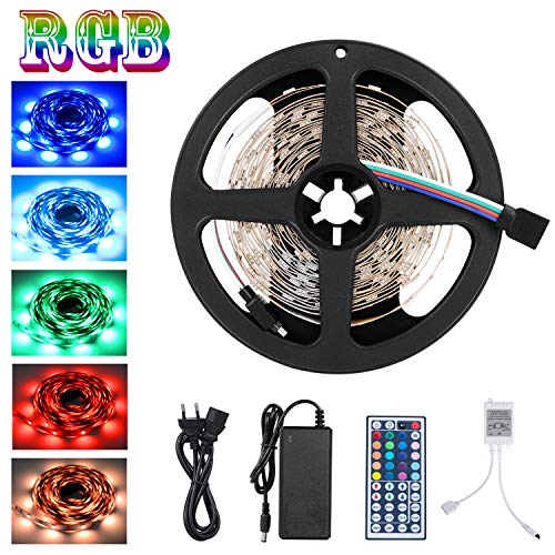Adoric Led Licht SMD 5050 5m 150 leds, 12V DC Flexible Lichtleisten, LED-Band, RGB LED-Leiste Kit mit 44key Fernbedienung und Netzteil für Küche Schlafzimmer Wohnzimmer DIY Küche Bar Party ()