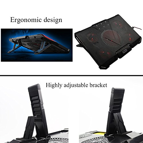 1Pcs Laptop Cooler Cooling Pad With Silence 5pcs LED Light Fans USB 2 0 Adjustable Notebook Holder For Macbook Air pro