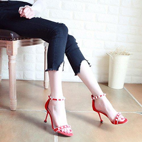 e2dae549e3a63 YMFIE Signore Sexy nuovi rivetti forati tacco alto scarpe e sandali di  punta in estate