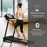 Murtisol T09B5 Folding Treadmill Walking Running Machine with Smartphone APP Control,Removable iPad