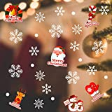 Rymall Schneeflocken Fensterbild 168 Stücke Wanddeko Aufkleber Abziehbilder, Abnehmbare Fensterdeko Statisch Haftende PVC Aufkleber Winter Dekoration