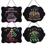 Pizarra Colgar (Pack de 4) - Pizarras Shabby Chic Decorativa con Cordel - Mini Pizarra Rectangular para Niños, Mensajes Borrables, Menú de Cocina - Perfecto para el Hogar, Restaurantes, Bodas